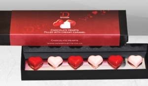 Demarquette Valentines chocolate fruit caramel hearts