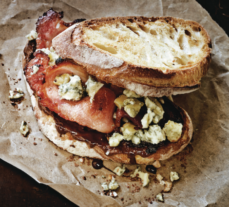 Paul a. Young Honey-cured bacon and stilton chocolate sandwich recipe